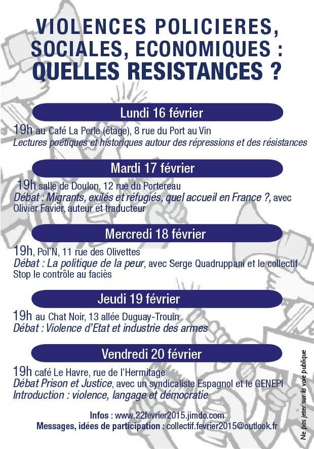 Semaine de résistances (Nantes) : lundi au vendredi